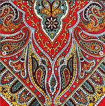 Таинственный вечер 1539-5, павлопосадский платок (шаль) из уплотненной шерсти с шелковой вязанной бахромой, фото 3