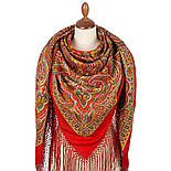 Таинственный вечер 1539-5, павлопосадский платок (шаль) из уплотненной шерсти с шелковой вязанной бахромой, фото 2