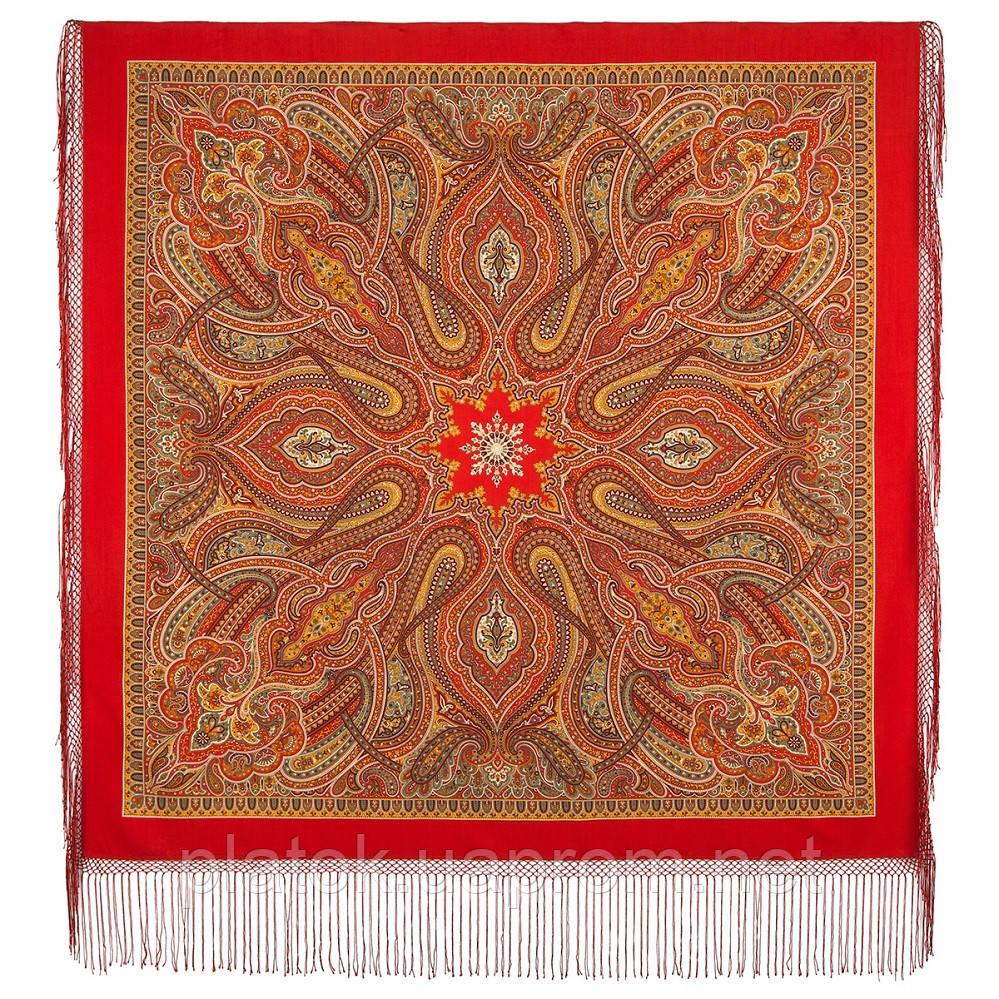 Таинственный вечер 1539-5, павлопосадский платок (шаль) из уплотненной шерсти с шелковой вязанной бахромой