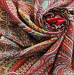 Таинственный вечер 1539-5, павлопосадский платок (шаль) из уплотненной шерсти с шелковой вязанной бахромой, фото 9