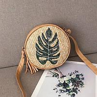 Женская соломенная сумка Leaf круглая, фото 1