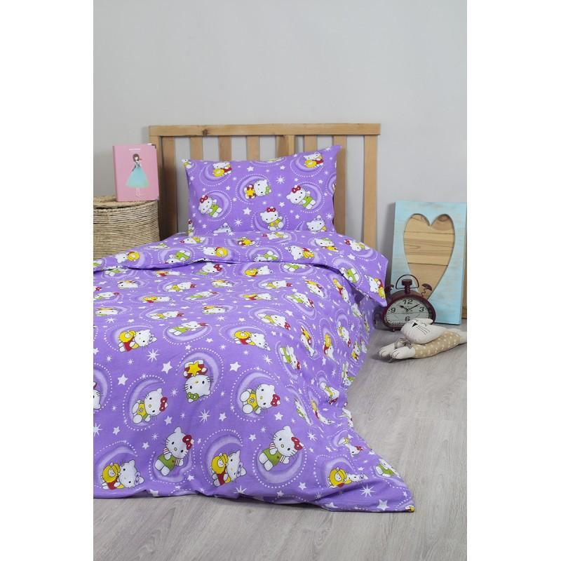 Детское полуторное постельное белье Hello Kitty