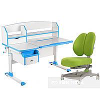 Парта-трансформер для дома FunDesk Sognare Blue + ортопедическое кресло Contento Green