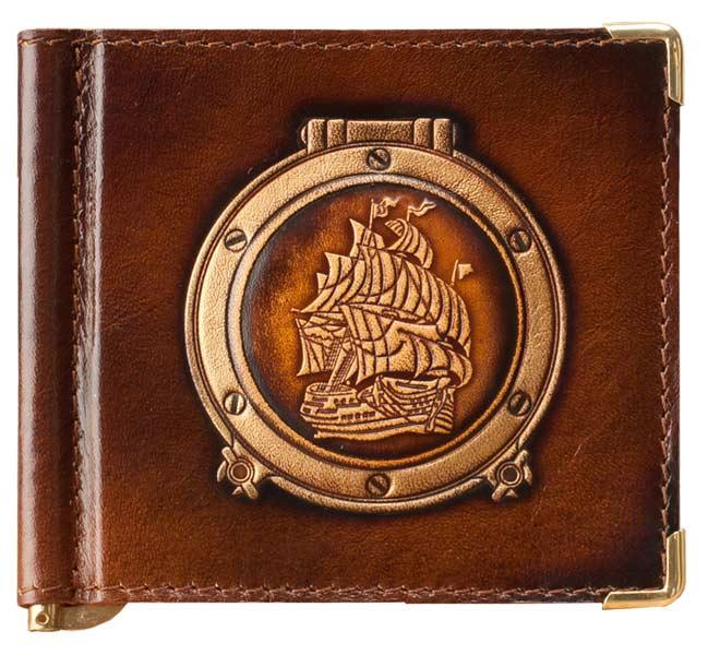 """Зажим для денег кожаный компактный в морском стиле """"Легенда 5"""". Цвет коричневый"""