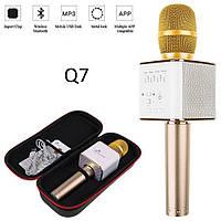 Беспроводной портативный Bluetooth микрофон Q7 в чехле золотой