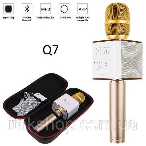 Беспроводной портативный Bluetooth микрофон Q7 в чехле золотой, фото 2