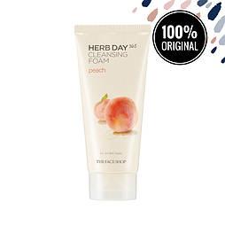 Пенка для умывания с персиком THE FACE SHOP Herb Day 365 Cleansing Foam Peach, 170 мл