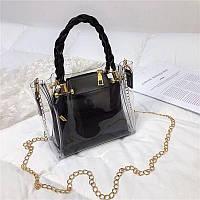 Женская летняя прозрачная сумка на цепочке Tanger черная, фото 1