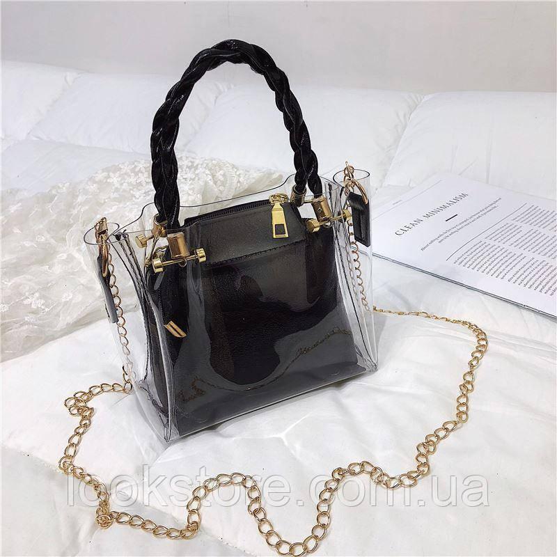 Женская летняя прозрачная сумка на цепочке Tanger черная