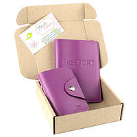 Подарочный набор №6: обложка на паспорт + картхолдер (фуксия)
