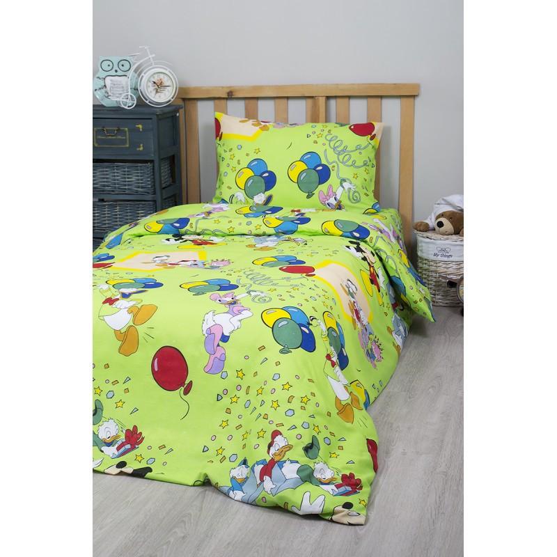 Детское полуторное постельное белье Дональд Дак зеленый