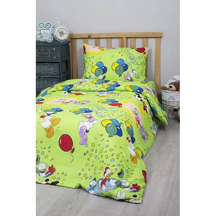 Детское полуторное постельное белье Дональд Дак зеленый, фото 2