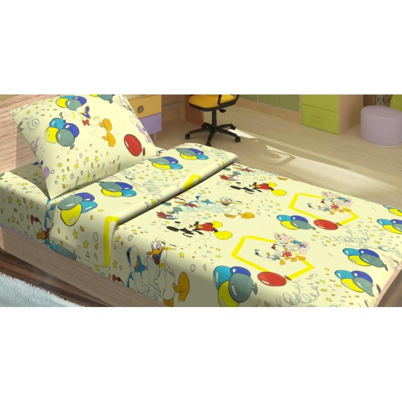 Детское полуторное постельное белье Дональд Дак желтый