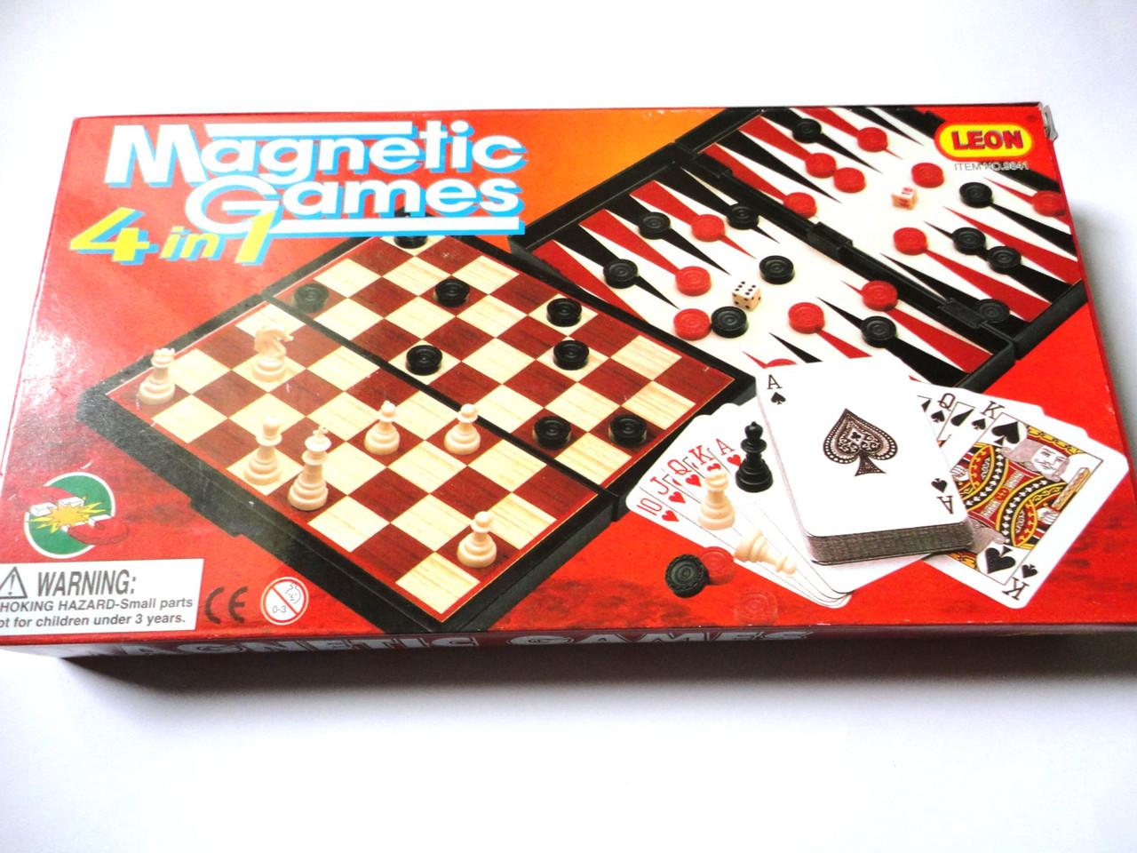 Магнитные Шахматы 4в1 Нарды Шашки. Пластик +колода карт