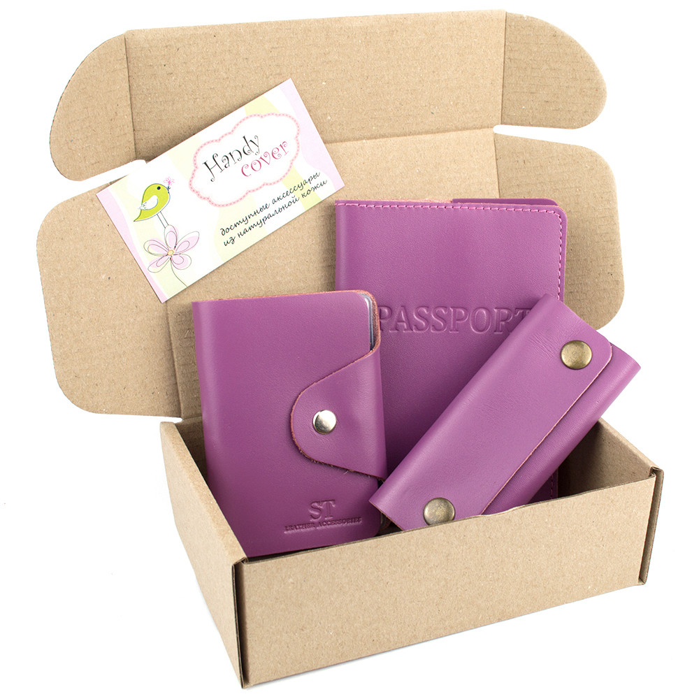 Подарочный набор №21: обложка на паспорт +картхолдер + ключница (фуксия)