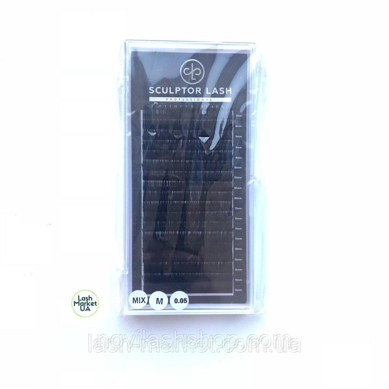 Вії mix М 0.10 (7-13 мм) Sculptor Lash Diamond Black