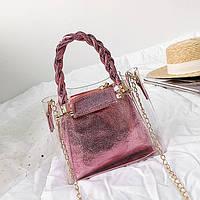 Женская летняя прозрачная сумка на цепочке Tanger розовая