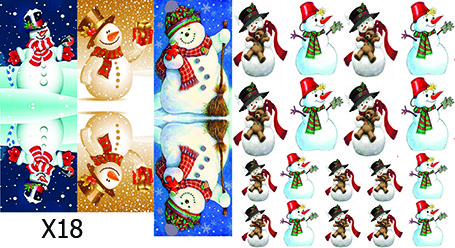Слайдер дизайн для ногтей Снеговики Новый Год