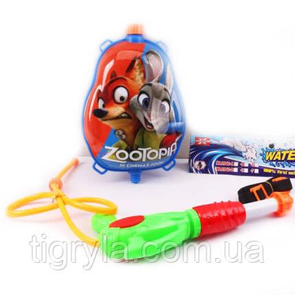 Водный пистолет с рюкзаком Зверополис. Вадяной пистолет ZooTopia, фото 2