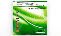 Линза полимерная прогрессивная Biomax с антибликовым покрытием. Индекс 1,56