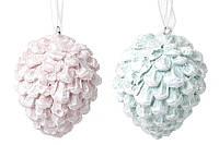 """Елочное украшение-подвеска """"Яркие Шишки"""" набор 6 шт, фигурки на елку , 2 вида в наборе - розовый и мятный"""