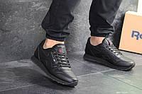 Кроссовки Reebok Classic мужские, черные, в стиле Рибок Классик, натуральная кожа, код SD-8114