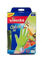 Набор одноразовых перчаток (50шт) Vileda M/L Салатовый Повреждена упаковка