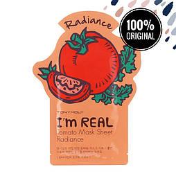 Подсвечивающая тканевая маска для лица с томатами TONY MOLY I'm Real Mask Sheet Tomato, 21 мл