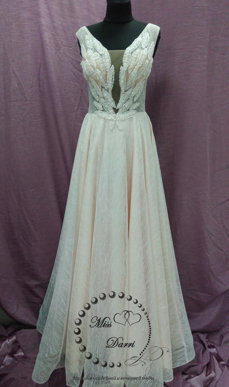 Блестящее вечернее платье/выпускное платье в цвете экрю (нежно-пудровый) с молочным