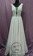 Блестящее вечернее платье/выпускное платье в цвете экрю (нежно-пудровый) с молочным, фото 1