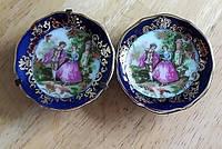 Старинные миниатюрные настенные тарелки, кобальт с позолотой