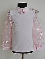 Школьная блузка для девочек розового цвета 122-146, фото 1