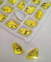 Стразы пришивные Топорик 12х19 Citrine (желтый), стекло