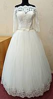 73.4 Шикарное кружевное свадебное платье цвета ivory с открытыми плечами и рукавом 3/4, размер 54