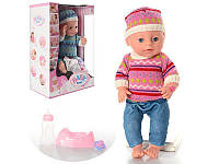 Пупс кукла 38 см типа беби берн (baby born) саксессуарами, горшок, соска, подгузники,пьет-писяет, YL1710CE