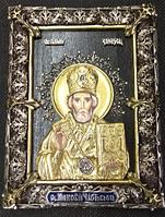 Икона Николай Чудотворец с сусальным золотом и серебром