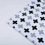 Ткань хлопковая с серыми и чёрными плюсами № 1046, фото 3