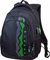Рюкзак школьный для старших классов для мальчика черно-зеленый на 2 отдела Winner One 405-5 41х31х17 см