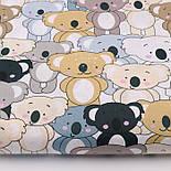 """Отрез ткани """"Парад коал"""" серые, коричневые на белом (№2300а), фото 2"""
