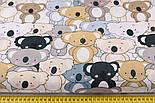 """Отрез ткани """"Парад коал"""" серые, коричневые на белом (№2300а), фото 3"""