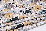 """Отрез ткани """"Парад коал"""" серые, коричневые на белом (№2300а), фото 6"""
