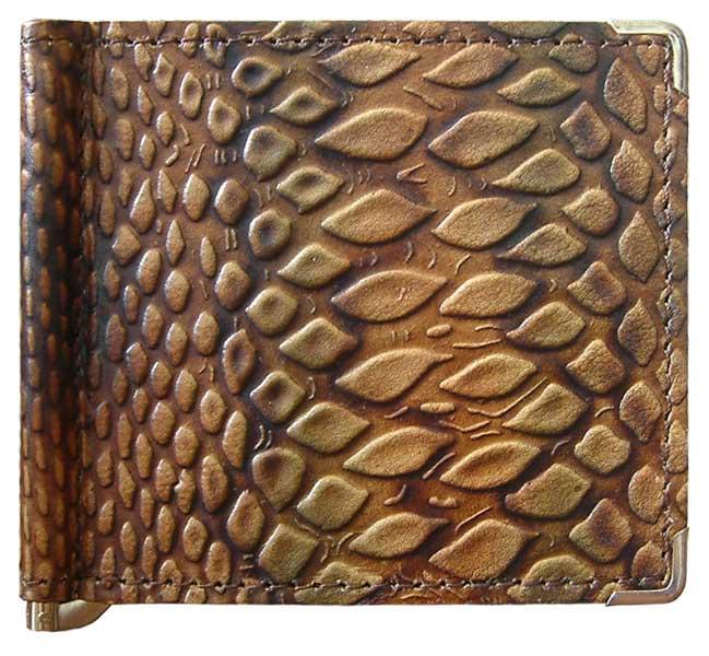 """Зажим для денег кожаный компактный """"Змея"""". Цвет коричневый"""