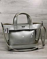 Серебристая сумка 56209 корзина прозрачная силиконовая через плечо с косметичкой, фото 1