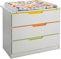 Пеленальный столик-комод k808 Белый с цветными вставками (Mobler TM)