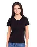 Базовая черная футболка женская с коротким рукавом однотонная трикотажная хб хлопок