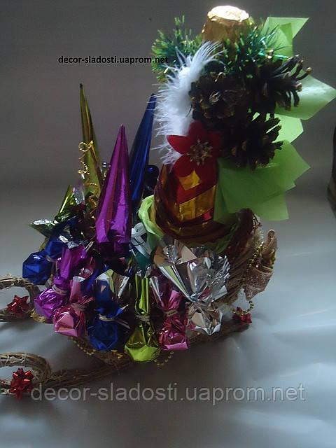 """Букет из конфет""""Саночки с подарками"""""""