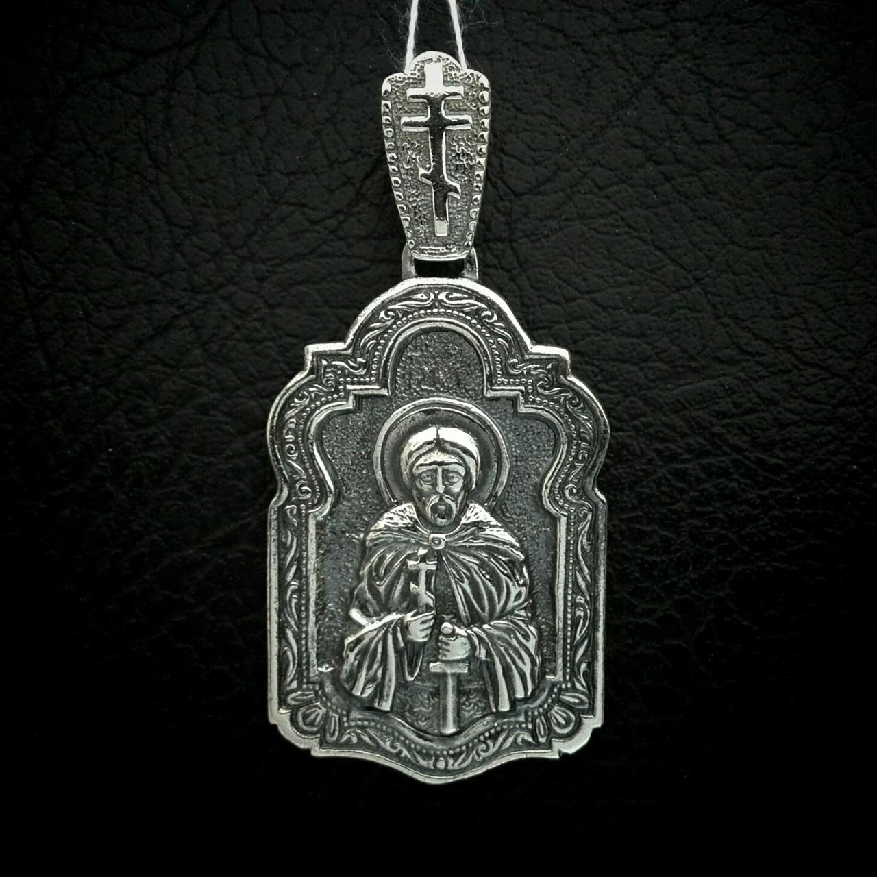 Срібна підвіска-ладанка Святий Олександр Невський