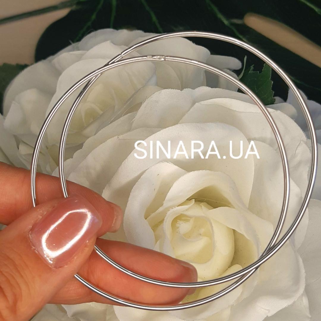 Серебряные родированные серьги кольца 65 мм - Серьги конго диам. 6.5 см серебро 925 пробы