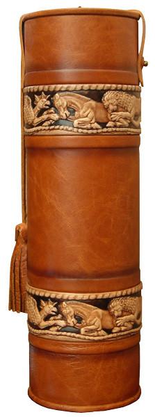 Подарочный кожаный тубус для элитного алкоголя «Скифы 1»