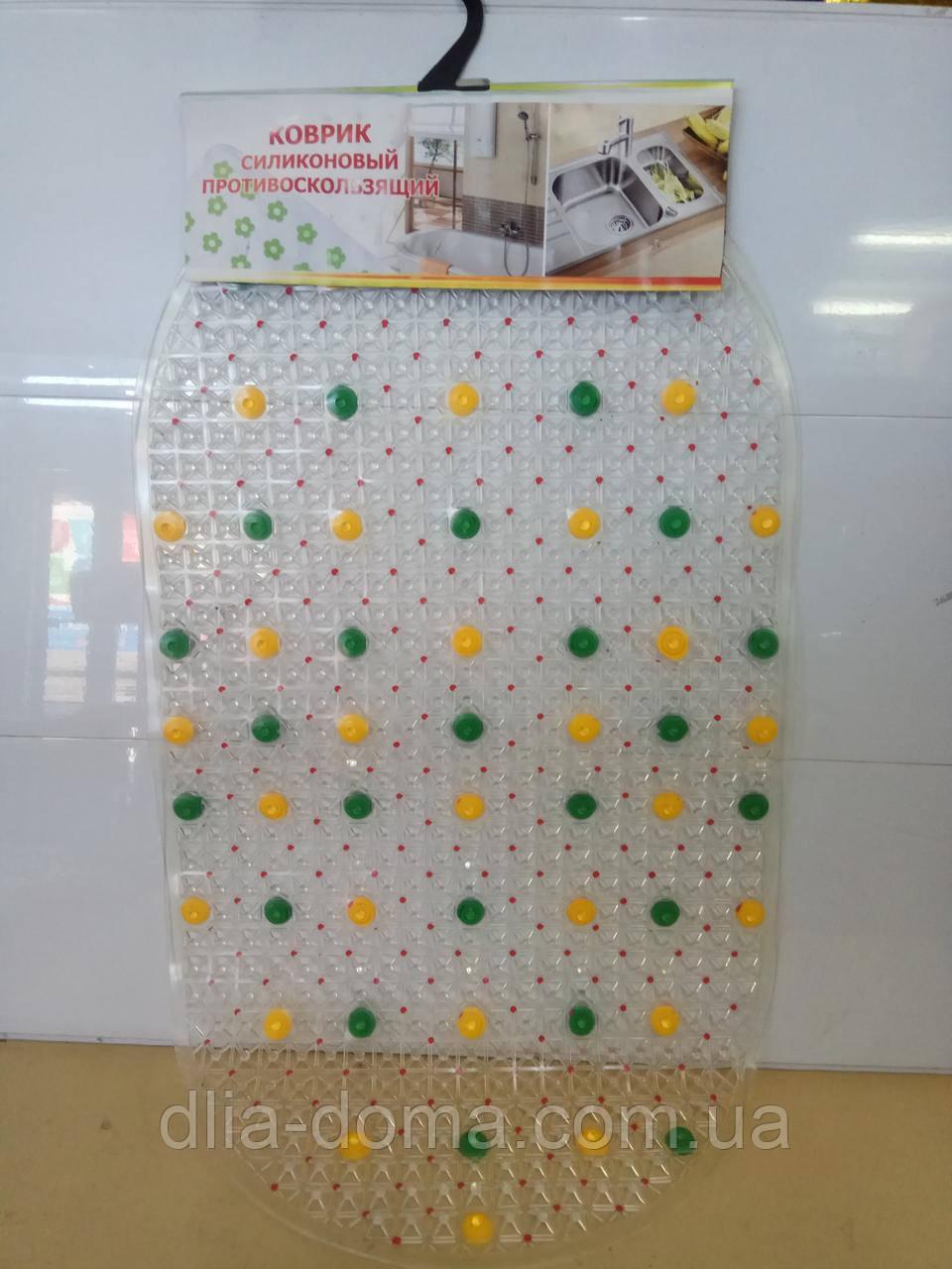 Килимок силіконовий овал кольоровий 38х68 см